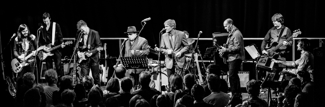 The Boom Band on stage with Van Morrison and Paul Jones